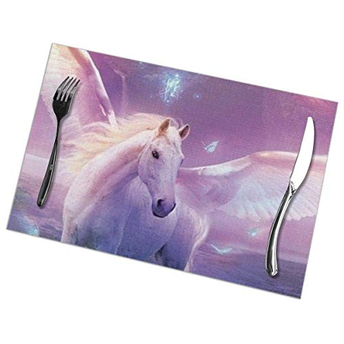 Fantasy Wonderland Unicornios de PVC, aislamiento térmico, resistentes a las manchas, manteles individuales para mesa de comedor, cocina, mesa