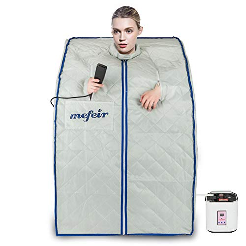 Mefeir 2L Steam Sauna Portable Home Spa, Full Body Slimming Loss Weight, Healthy Detox Therapy One Person, w/Enlarged Folding Chair
