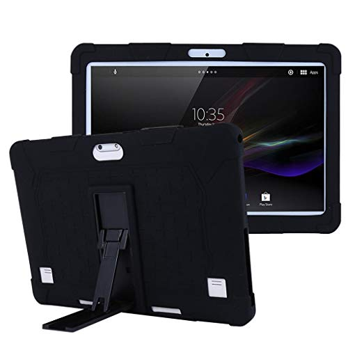 ghn Funda universal de silicona para tablet de 10 de 10,1 pulgadas, con marco fijo flexible, antisuciedad, antigolpes, accesorios # 921 (color: BK)