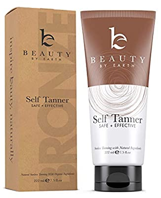 Self Tanner - Organic and Natural Ingredients Sunless Tanning Lotion and Best Bronzer Buildable Light, Medium or Dark Tan for Body and Face, 7.5 oz
