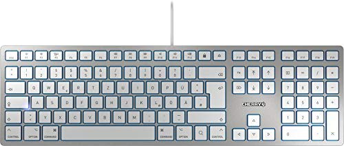 CHERRY KC 6000 Slim for Mac Tastatur, Silber/Weiß
