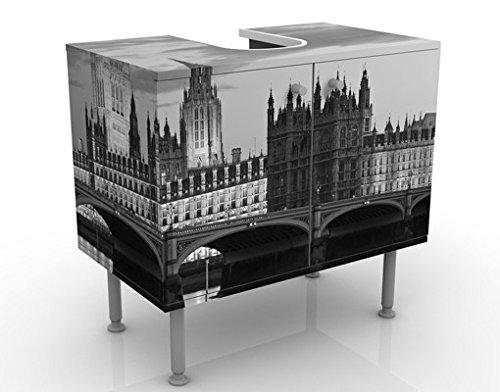 Meuble sous Vasque Design London at Night II 60x55x35cm, Petit, 60 cm de Large, réglable, Table de lavabo, Armoire de lavabo, lavabo, Meuble Bas, Baignoire, Salle de Bains, Armoire de Salle Bains