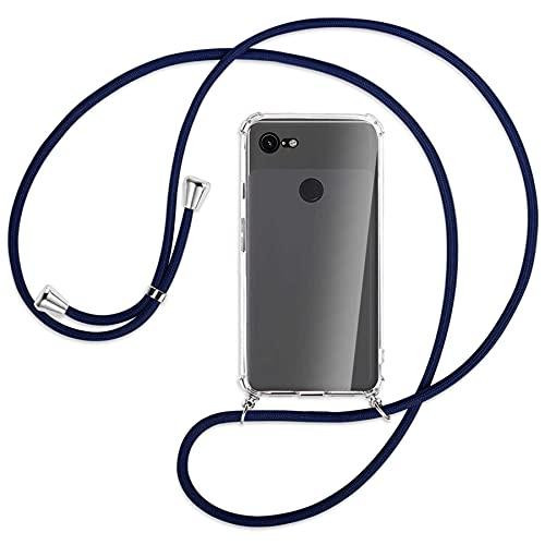 mtb more energy® Handykette kompatibel mit Google Pixel 3 XL (6.3'') - dunkelblau - Smartphone Hülle zum Umhängen - Anti Shock Full TPU Hülle