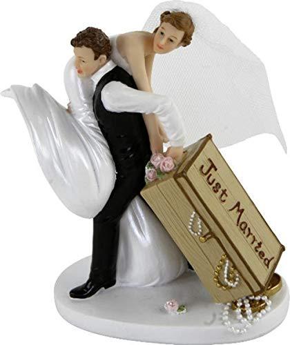 MIK Funshopping Tortenaufsatz, Tortenfigur, Dekofigur Brautpaar Hochzeitspaar Wedding Hochzeit Trauung Hochzeitstorte Cake-Topper (Just Married mit Koffer)