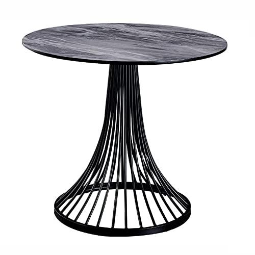 Forma redonda mármol Pequeño restaurante comedor Patas de mesa de madera Artificial blanco Carrara Tablero de mesa de mármol Café antiguo Mesa auxiliar de ocio (Size:80cm,Color:Pilar de la torre)