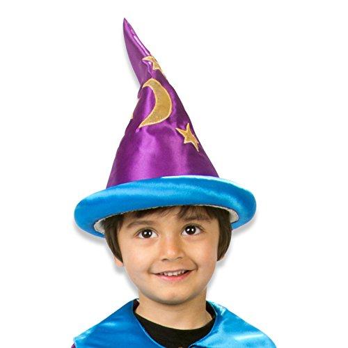 Slimy Toad – Zauberer-Hut für Zauberer-Kostüms – Handgemachter Zauberer-Hut für das Zauberer-Kostüm – Zauberer Kostüme für Kinder, Hut in Violett und Blau (3-8 Jahre)