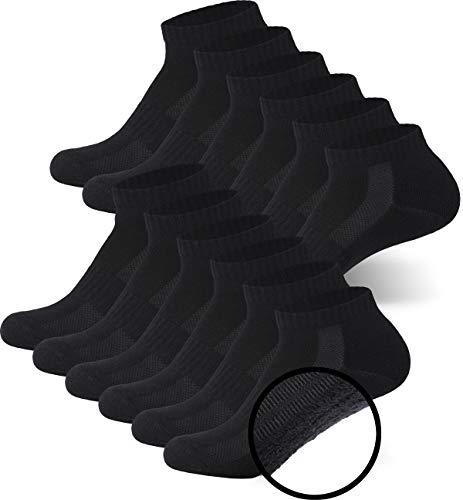 MC.TAM® Unisex Sportsocken Halbsocken Quartersocken Herren Damen 6 Paar 80% Baumwolle (Oeko-Tex® Standard 100) Frotteesohle, 39-42, 6x HF, Schwarz