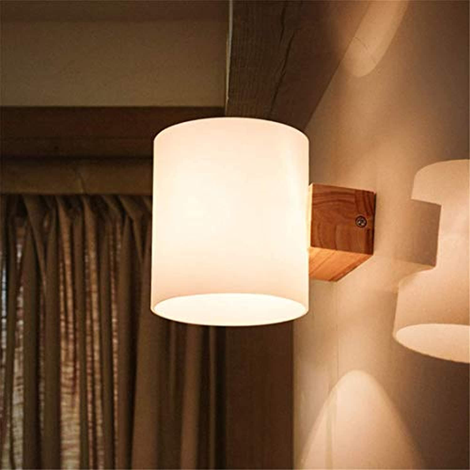 Lichtwall Sconce Wall Lights Nordic Living Room Wall Lamp Modern Simple Creative Personality Aisle Wall Lamp Bedroom Light Wood And Glass Led Wall Lamp [Energy Class A++]