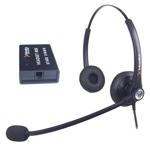 Xintronics Cuffie Telefono Fisso Dual Universali Compatibili con Maggior Parte i Telefoni, Auricolare RJ9 con Pulsante di Risposta, Microfono a Cancellazione del Rumore, Controllo del Volume(XT402)