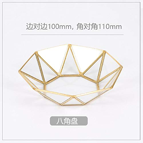 Glazen opberglade Goud Koper Rand Sieraden Lade Noord-Europa INS Opslag Lade Moderne Decoratie Desktop Organiseren Parfum Doos Ba Jiao Pan