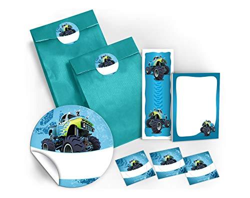 12 Geschenktüten / blau + 12 Aufkleber + 12 Lesezeichen + 12 Mini-Notizblöcke Monster-Truck / Mitgebsel Gastgeschenk für Kinder Jungen Kindergeburtstag Geburtstag Party-Zubehör Giveaways