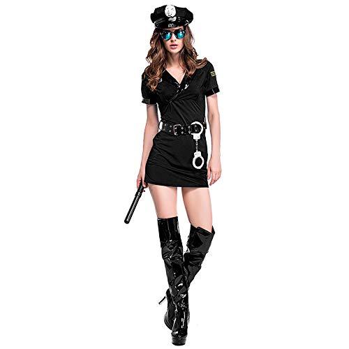 HNLHLY Juguetes Erotismo MujerHalloween New Sexy Black Couples Masquerade Costume Police Game Uniformes Juegos de rol Hombres Mujeres Trajes Cosplay Ropa Mujer_Un tamaño