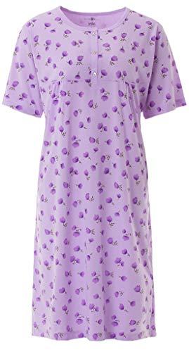Zeitlos Nachthemd Damen Kurzarm Blumendruck Knöpfe Übergröße 3 XL - 6XL, Farbe:Flieder, Größe:2XL