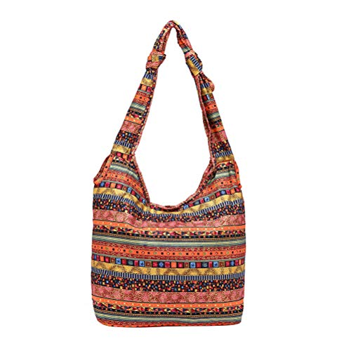 FENICAL Hippie Bag Floral Bolsos de hombro Boho Cloth Zipper Messenger Bag para mujeres Damas (rojo)