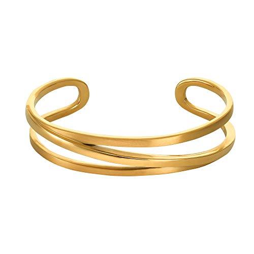 Heideman Armband Damen Armreifen Armspange aus Edelstahl silber farbend matt Armkette für Frauen ineinander verschlungen