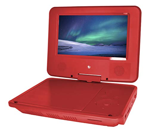 Ematic Personal DVD Player with 7-Inch Swivel Screen, Headphones, Carrying Case, Red