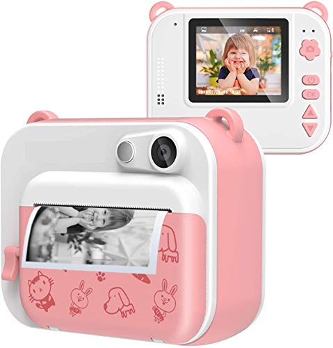 Kids Instant Camera Print Ink-free Film-free 800MP Camera 1080P HD Video with 2 Inch Screen Black&White Photo Portable Digital Creative Camera with 3 Rolls of Printing Paper Gift for Boys Girls (Pink)