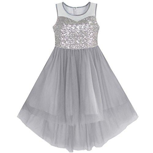 Sunny Fashion Mädchen Kleid Grau Sequined Tüll Hi-Lo Hochzeit Party Kleid Gr. 158