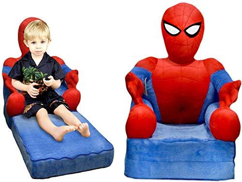 Kindersessel Sessel für Kinder Bär Plüschtier Sitzkissen Sofa Bett Matratze 75x45x90cm (Spider Man)
