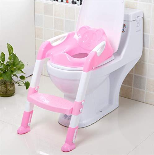 RAILONCH Toilettentrainer Training Kinder 3 in 1 Toilettensitz Töpfchen Toiletten Trainer mit Stufen WC Sitz Zusammenklappbar (Pink)