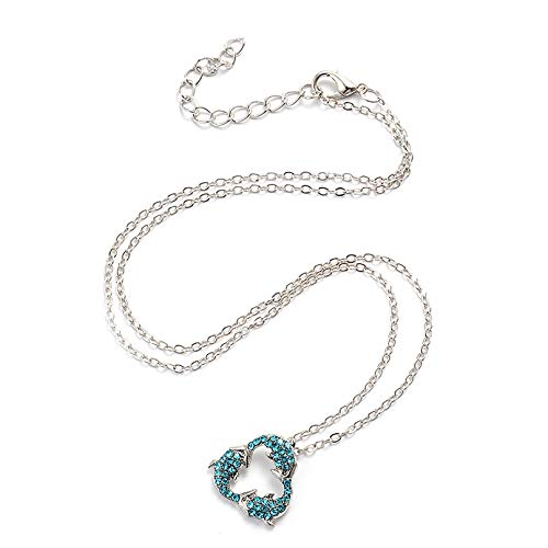 ZXDDD Dolphin Necklace Sterling Silver Infinity Rhinestone Crystals Butterfly Pendant Necklace Jewellery For Women Girls