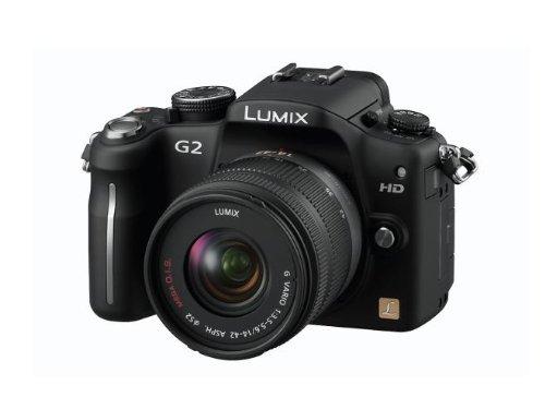 Panasonic Lumix DMC-G2WEG-K Systemkamera (12 Megapixel, 7,5 cm (3 Zoll) Touchscreen, LiveView, bildstabilisiert) Gehäuse schwarz inkl. Lumix G Vario 14-42mm und 45-200mm Objektive