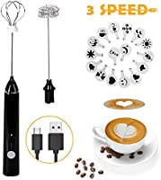Montalatte Elettrico Schiumatore, testina del frullino a doppia molla USB Ricaricabile 3 Velocità frullino montalatte...