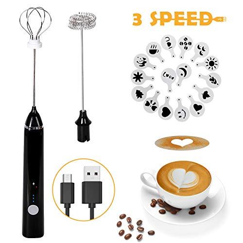Montalatte Elettrico Schiumatore, testina del frullino a doppia molla USB Ricaricabile 3 Velocità frullino montalatte elettrico con 16 pezzi Stencil d\'arteper latte/caffè/Cappuccinatore(Nero)