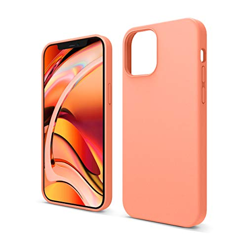 """elago Silicona Líquida Funda Compatible con iPhone 12 Case y Compatible con iPhone 12 Pro Case (6.1""""), Silicona Premium, Protección Funda Protectora 3 Tapas Estructura (Naranja)"""
