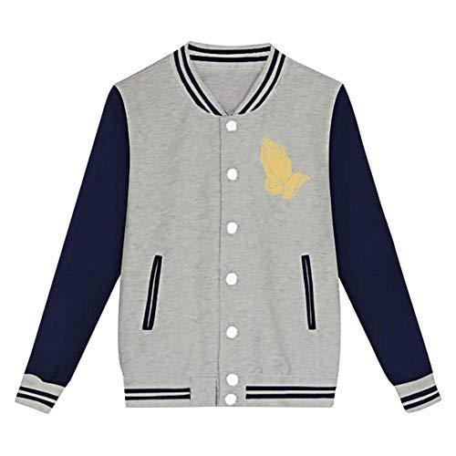 Praying Hands Print Junior Long Sleeve Plus Velvet Baseball Uniform Children's Jacket Sports Jacket Unisex Gray S