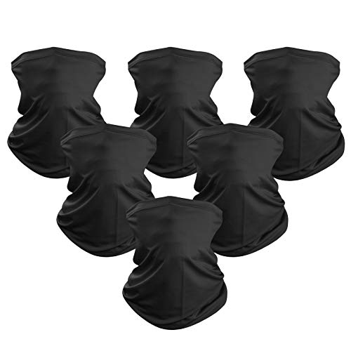 6 Pieces Sun UV Protection Face Mask Neck Gaiter Windproof Scarf Sunscreen Breathable Bandana Balaclava for Outdoor use (6-Black)