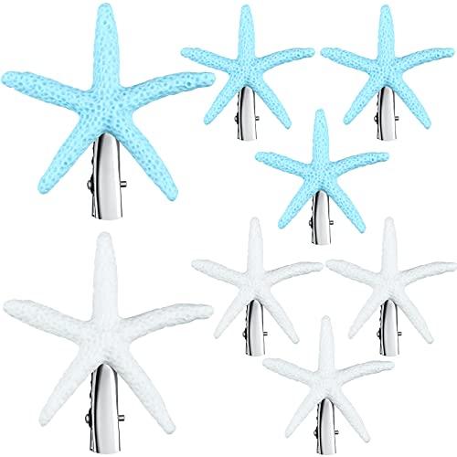 8 Pieces Starfish Hair Clip Resin Beach Sea Star Hair Pins Mermaid Hair Clips Accessories Halloween Cosplay Hair Pins Mermaid Hair Clips Hawaiian Seaside Hair Clip for Women and Girls, Blue and White