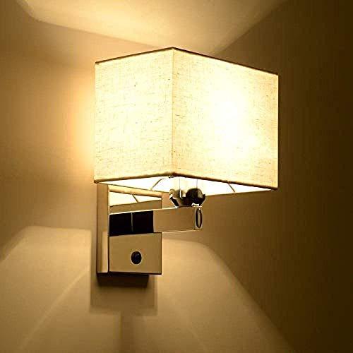 WEM Novedad Lámpara de pared, luces nocturnas con interruptor Lámpara de lectura LED Manguera de cama de pared Lámpara de lectura con palanca basculante Iluminación de pared Pantalla de tela sin luz