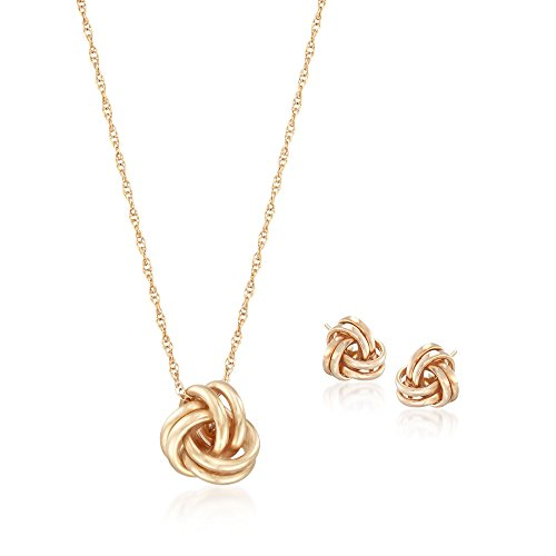 Ross-Simons 14kt Yellow Gold Love Knot Jewelry Set: Necklace and Earrings. 18 inches