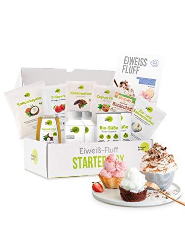 Pumperlgsund Eiweiß Fluff | Fluff Multi-Box | Größe M | Freiland Qualität | Dessert-, Eis- und Back-Fluff | Low Carb | Enthält Erythrit & Tapioka Sirup
