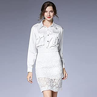 Women Fashion Long Sleeve Shirt Lace Hollowed High Waist Skirt Two-piece Suit High Quality (Color : White, Size : M)
