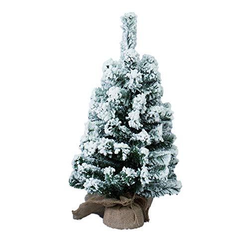 Pinetto Albero di Natale INNEVATO 65 Rami, 40 cm, Ø 20cm con Supporto Base in Juta Pino Artificiale Piccolo PP+PVC e Stand Sacco Iuta Alberello Abete Naturale piantina Alberino