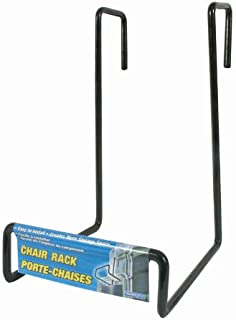 Camco Heavy Duty Chair Rack- Hook on RV Ladder to Support Folding Chairs, Picnic Chairs, and Beach Chairs During Travel- Black (51490)
