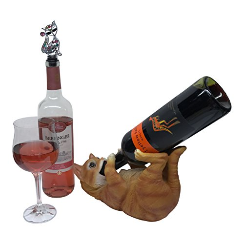 Cat Sculpture Decorative Wine Bottle Holder With Kitty Bottle Stopper