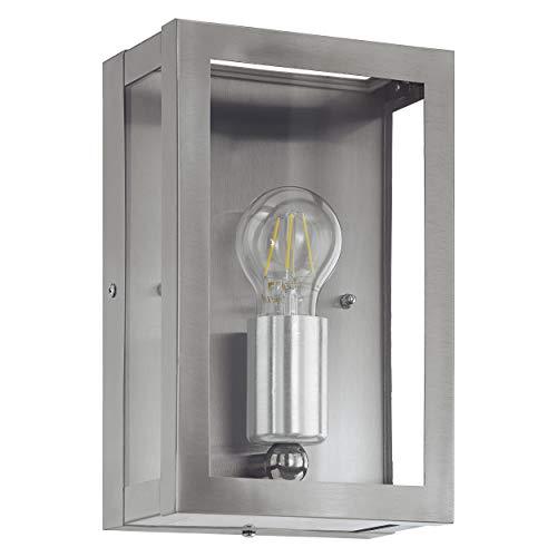 EGLO Außen-Wandlampe Alamonte, 1 flammige Außenleuchte, Wandleuchte aus Edelstahl, Farbe: Silber, Glas: klar, Fassung: E27, IP44
