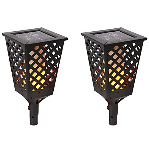 Solar Bodenleuchte Gartenleuchte Dekoration Licht Solar-Fackel-Flammengarten-Lichter 2-Pack-LED-Fackel mit flackerndem Flammen IP44 wasserdichte Außen Solarlampe für Rasen...