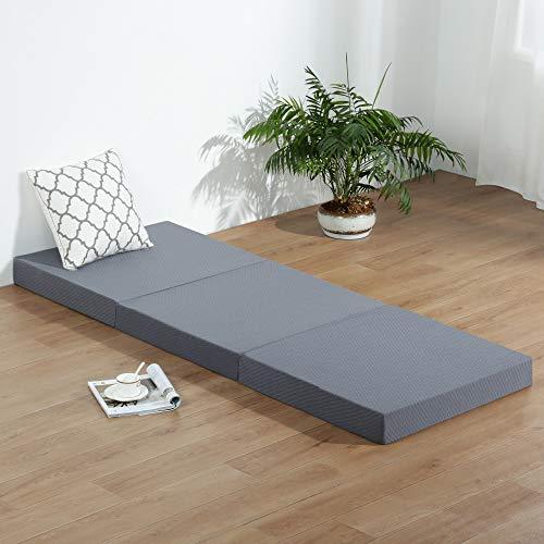 SLEEPLACE Multi Layer Tri-Folding Memory Foam Topper Mattress, Single, Grey