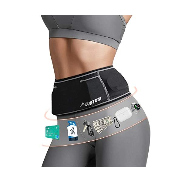 LUDTOM Running Belt, Travel Waist Pack for Hold Phone Money Key Passport Bank Card, Adjustable Sport Waist Pouch with Headphone Hole for Fitness Workout Holder for Jogging Hiking Cycling Climbing