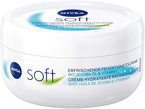 NIVEA Soft erfrischende Feuchtigkeitscreme (50 ml), pflegende Soft Creme mit Vitamin E und Jojoba-Öl, schnell einziehende Hautcreme