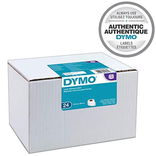 Dymo LW-Etiketten für große Adressen, selbstklebend, für LabelWriter-Etikettierer, Originale, 24 Rollen à 130 Etiketten, leicht abziehbar, 36 mm x 89 mm