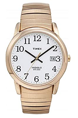 Timex Men's T2H301 Easy Reader 35mm Gold-Tone Stainless Steel Expansion Band Watch by Timex