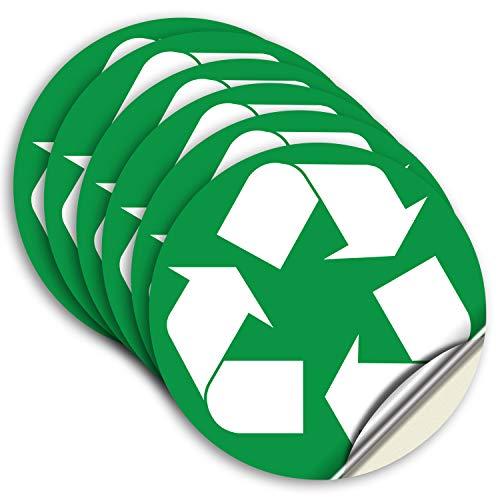 Pegatina de reciclaje para cubos de basura, 6 unidades, 5 pulgadas, vinilo autoadhesivo premium, laminado para impermeables, resistentes a los rayos UV, para reciclaje en interiores y exteriores.