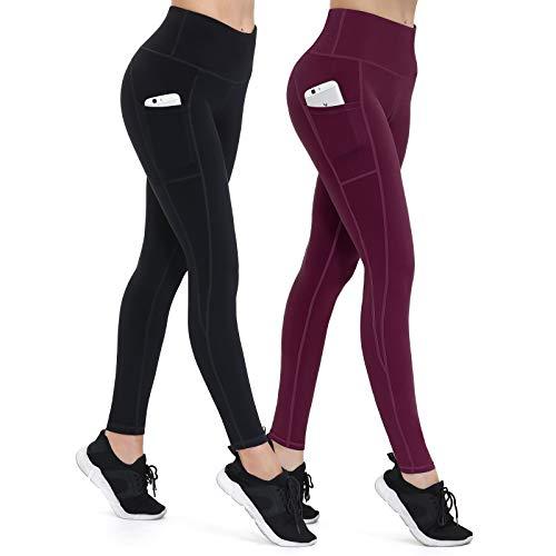 ALONG FIT Damen 2er Pack Leggings High Waist Blickdichte Sporthose mit Taschen Hohe Taille Lange Yogahose für Fitness Sport Schwarz Burgundy S