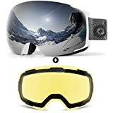Odoland Magnetic Interchangeable Ski Goggles with 2 Lens, Large Spherical...
