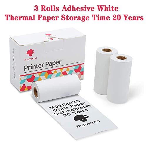 ZYT Selbstklebend Thermal Papier, Glänzend Druckbar Aufkleber Papierdrucker für Telefon Fotopapier,6